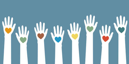 raised human hands with heart isolated on white background vector illustration