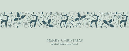christmas card with deer berry star gift and snowflake border vector illustration