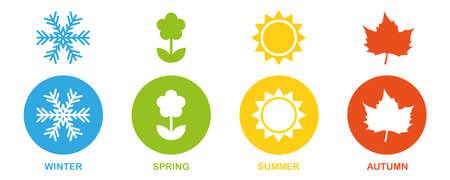 four seasons winter spring summer fall icon set vector illustration EPS10 向量圖像