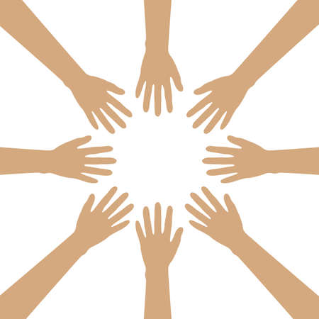 group of human hands build a circle isolated on white vector illustration EPS10 向量圖像