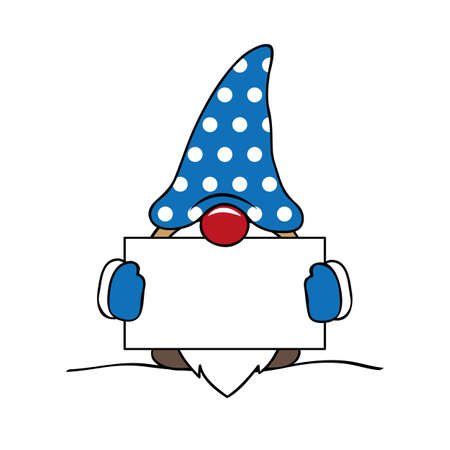 christmas cute gnome with blue clothes and card vector illustration 向量圖像