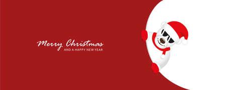 cute icebear with sunglasses looks around the corner funny christmas design vector illustration EPS10 向量圖像