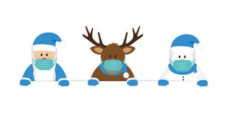 deer santa and snowman cartoon with mask virus christmas design vector illustration Vektorové ilustrace