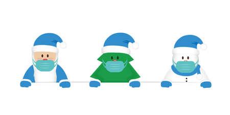 santa christmas tree and snowman cartoon with mask  coronavirus design vector illustration