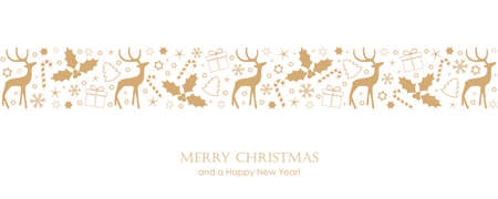 Christmas card with deer berry star gift and snowflake border vector illustration. 向量圖像