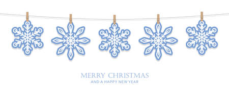 blue and white hanging snowflakes christmas card vector illustration EPS10