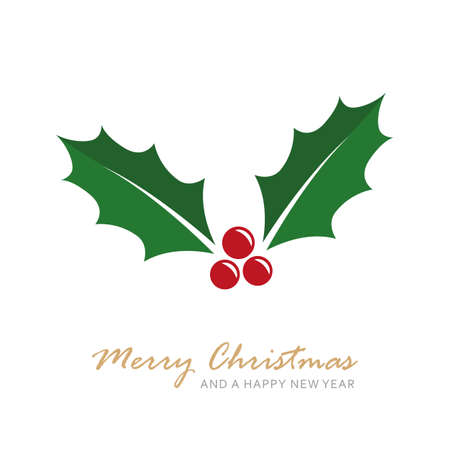 christmas holly berry isoladet on white vector illustration Ilustração
