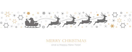christmas card with santa sled and deer on star border vector illustration EPS10 向量圖像