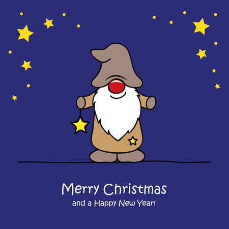 cute christmas dwarf with star christmas cartoon vector illustration EPS10 向量圖像