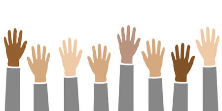 raised hands in different skin colors isolated on white vector illustration EPS10