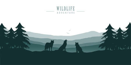 wolf pack on blue forest landscape with mountain view vector illustration EPS10
