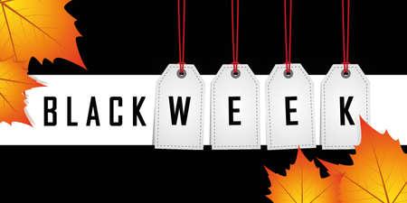 black week promotion hanging label on red background vector illustration EPS10