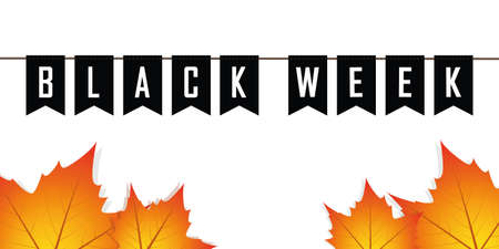 black week sale flags banner with autumn leaves vector illustration EPS10
