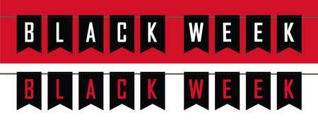 black week sale flags banner set vector illustration EPS10 向量圖像