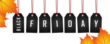black friday promotion hanging label on abstract paper background vector illustration EPS10 Çizim
