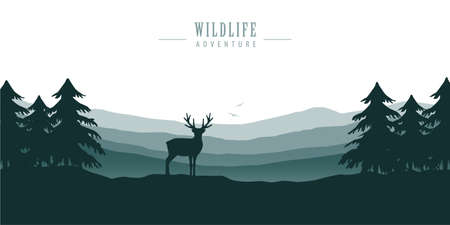 wildlife deer in forest with mountain view blue nature landscape vector illustration