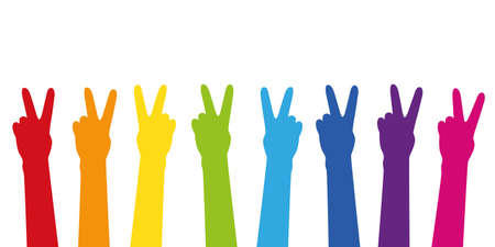 peace raised hands in colouful rainbow colors isolated on white vector illustration