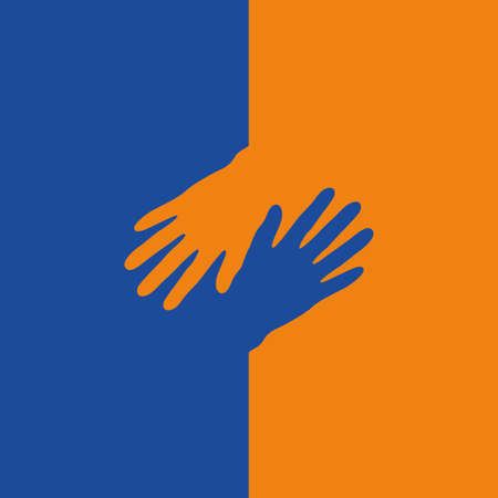 blue and orange human hand isolated vector illustration EPS10
