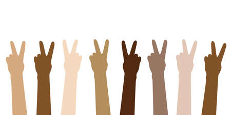 peace raised hands in different skin colors isolated on white vector illustration