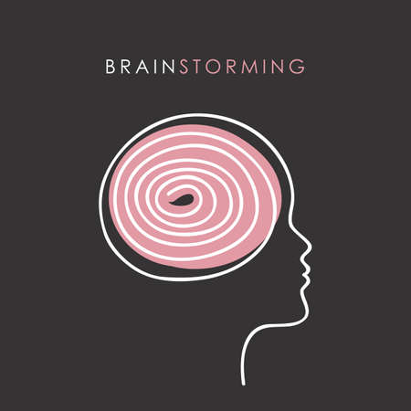 abstract female head brain strorming concept vector illustration