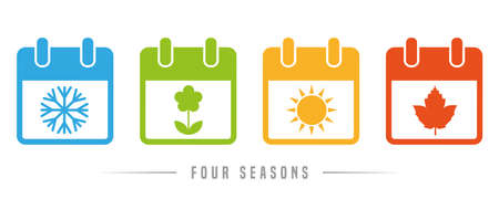 four seasons winter spring summer autumn calendar icon set vector illustration EPS10 Ilustracja
