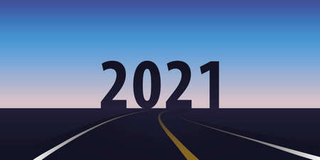 asphalt road direction 2021 blue sky vector