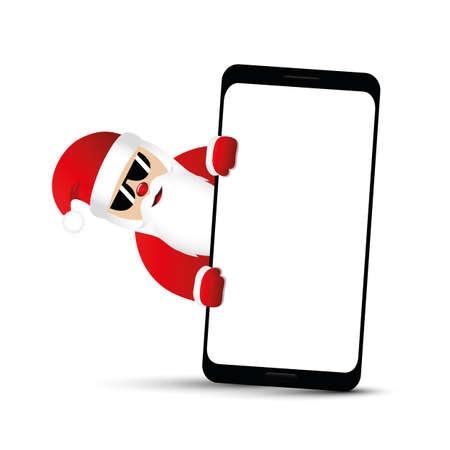 cool santa claus with sunglasses and smartphone vector illustration EPS10