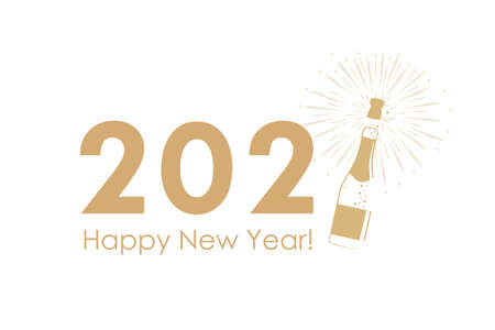 happy new year 2021 typography with fireworks and champagne vector illustration