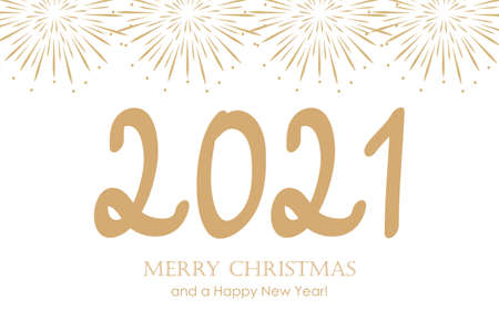 happy new year 2021 typography with fireworks vector illustration