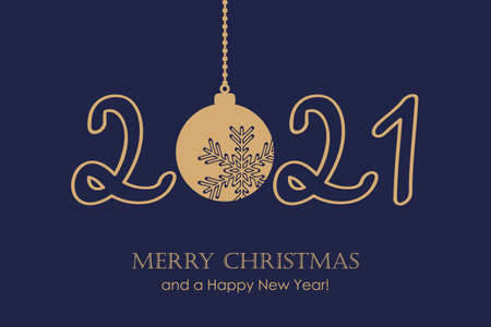 happy new year 2021 typography with hanging christmas ball vector illustration