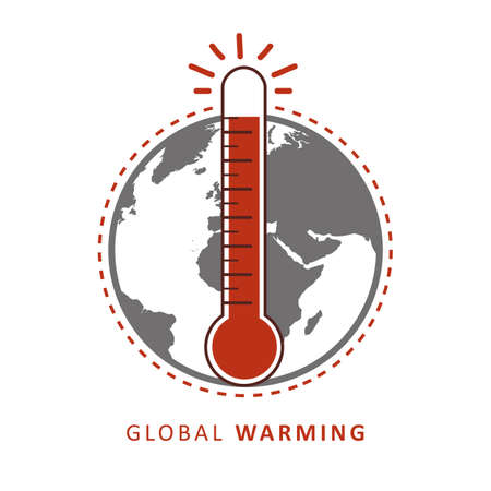 global warming heat thermometer and earth vector illustration