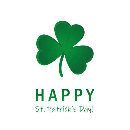 happy st. patricks day green clover leaf on white background vector ilustration Иллюстрация