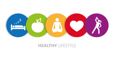 healthy lifestyle icons sleep apple yoga heart sport vector illustration