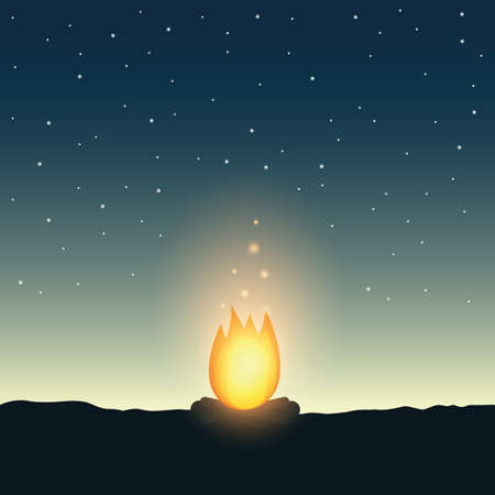 campfire by night and starry sky wildlife adventure vector illustration Иллюстрация