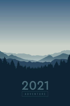 adventure blue mountain landscape background vector illustration