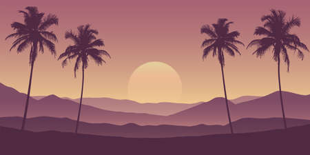 beautiful palm tree silhouette mountain landscape in purple colors vector illustration Иллюстрация