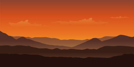 sunset in the mountains landscape in orange colors vector illustration