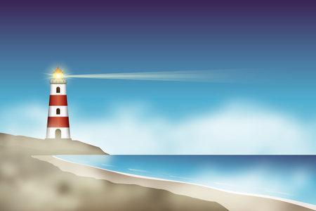 lighthouse near beach in the night fog vector illustration EPS10