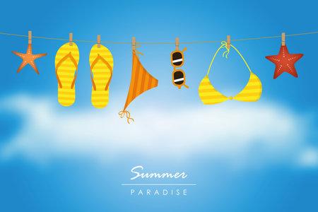 summer holiday striped flip flops bikini and sunglasses hang on a rope vector illustration 일러스트
