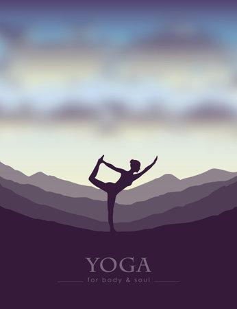 girl makes yoga on mountain landscape at beautiful sunset vector illustration 일러스트