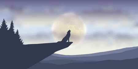 wolf howls at full moon nature landscape vector illustration EPS10