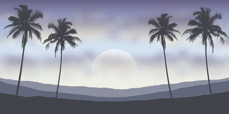 tropical night landscape with palm trees and mountains vector illustration EPS10