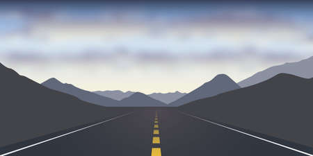 straight asphalt road in the mountains dramatic cloudy landscape vector illustration EPS10 Иллюстрация