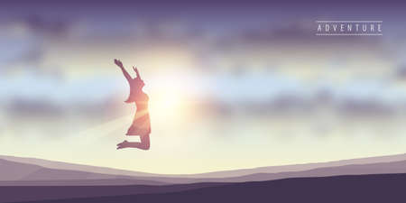 happy girl with raised arms jumps at sunshine vector illustration