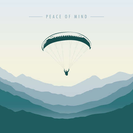 peace of mind paraglider in green mountain vector illustration EPS10 Иллюстрация