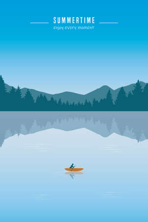 canoeing adventure with a red boat on the lake summertime vector illustration
