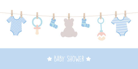 baby shower welcome greeting card for childbirth with hanging utensils vector illustration EPS10 Иллюстрация