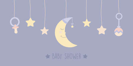 baby shower welcome greeting card with hanging bodysuit moon and star vector illustration EPS10 Иллюстрация