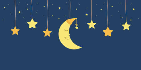 hanging sleeping moon and stars in sky childhood vector illustration Иллюстрация