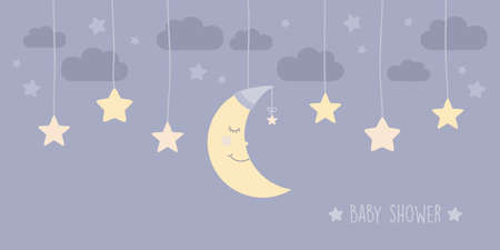 baby shower greeting card with hanging sleeping moon and stars vector illustration EPS10